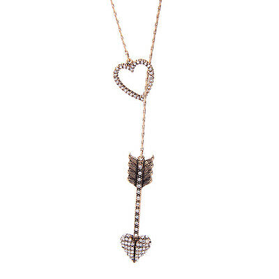 Crystal Pave Heart Cupid's Arrow Long Pendant Necklace For Girlfriend Dress Gift