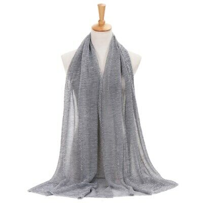 Plain Colour Shiny Shimmer Glitter Sparkly Scarf Hijab Shawl Wrap Wedding