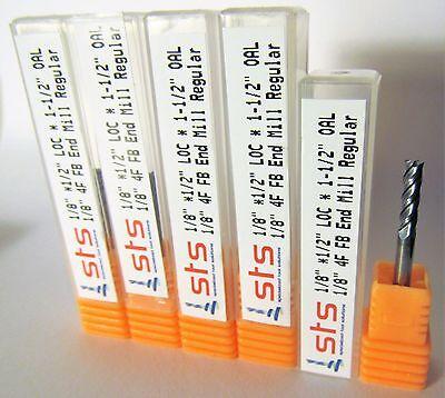 5 pcs 3mm Carbide Endmill 4 Flute Flat Bottom Regular TiAlN
