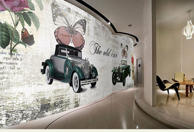 3D Retro- Auto Schmetterlinge  84 Tapete Wandgemälde  Tapeten Bild Familie DE