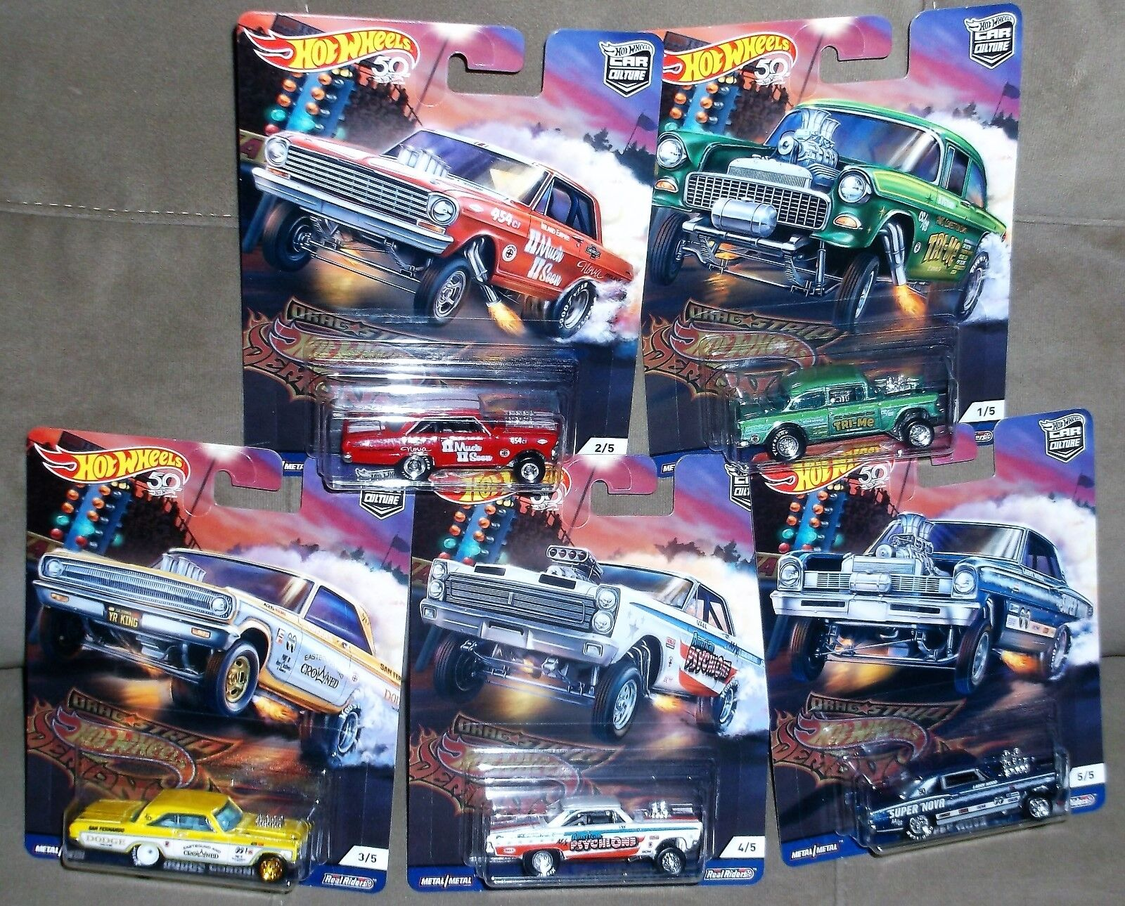 2018 Hot Wheels Car Culture Drag Strip Demons 5 Car Complete Set Real Riders Die