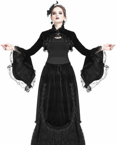 Dark in Love Gothik Schwarz samt Bolero Schulterjacke Top Steampunk