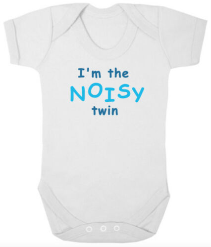 Newborn Gift I/'M THE SHY//NOISY TWIN Funny Bodysuits//Grows//Vests Baby Shower
