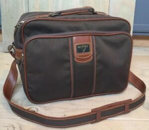 ANTLER-LUGGAGE-Brown-Leather-Tweed-Cloth-Weekender-Carry-On-Shoulder-Bag
