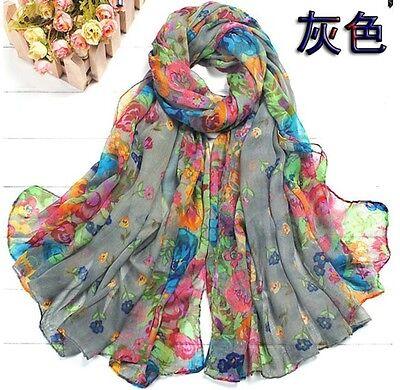 Fashion Women's Cotton Linen Beautiful Rural Style Flower Long Silk Scarf Shawl