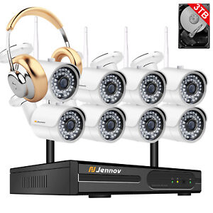 1080P-8CH-NVR-Wireless-Security-Camera-System-Outdoor-Wifi-Home-CCTV-Audio-Set