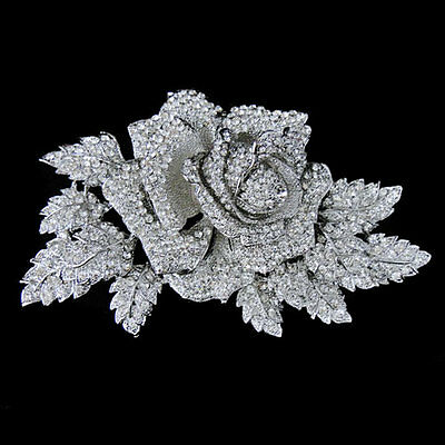 5.9'' Bridal Large Rose Flower Leaf Brooch Pin Clear Austrian Crystal Silver GP