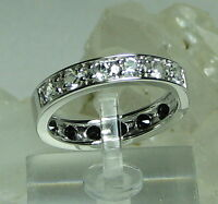 Shopnbc Gem Insider White Topaz & Black Spinel Reversible Band 925 Ring Sz 8.25