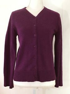 TERRITORY-AHEAD-cardigan-sweater-LARGE-purple-v-neck-buttons-wool-blend-J787