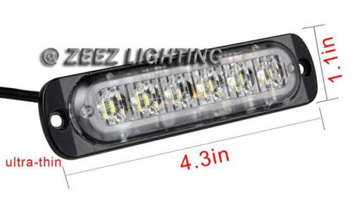 2X White/&Amber 6 LED Emergency Hazard Warning Caution Beacon Strobe Light Bar#93