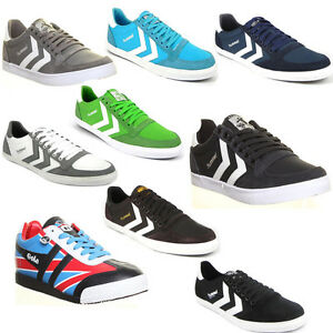 44cadda618a8 Hummel Slimmer Stadil Unisex Canvas Grey Lace Up Running Shoes UK ...