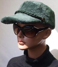 Mütze Pelz Hut Schirmmütze Basecap Pelz Hut Samt Kanin geschoren Dunkelgrün M L