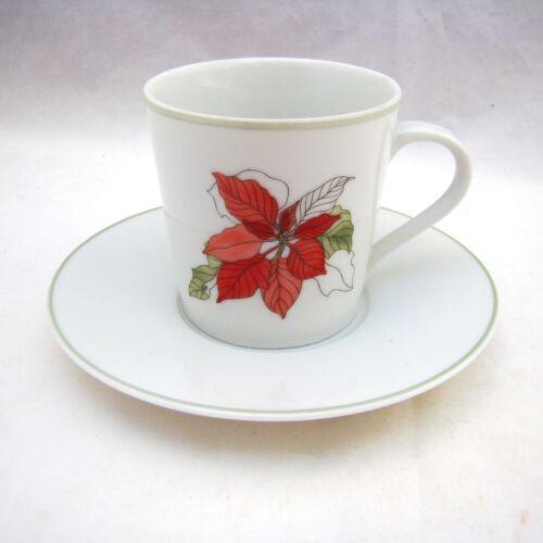 Goertzen Demitasse Cup /& Saucer Set//s EXC Block Spal Watercolors POINSETTIA M.L