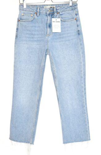 Topshop High Rise Straight Leg Light Blue Raw Hem Ankle Crop Jeans 10 W28 L30