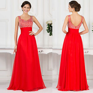 Beaded Long Chiffon Prom Bridesmaid Dresses Party Evening Pageant Wedding Gown