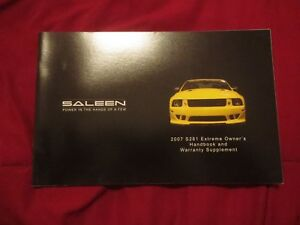 2007 saleen ford mustang s281 extreme factory unused original owners rh ebay com 2007 ford mustang user manual 2007 mustang owners manual pdf