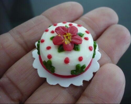 2 Christmas Cake Dollhouse Miniature Food Bakery Holiday X/'mas