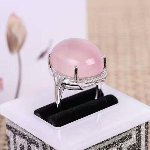 Bague Argent 925 quartz rose naturel 15cts grosse pierre précieuse cabochon