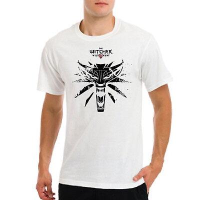 Witcher 3 wild hund game wolf logo, Geralt Wiedzmin gamer mens white t-shirt