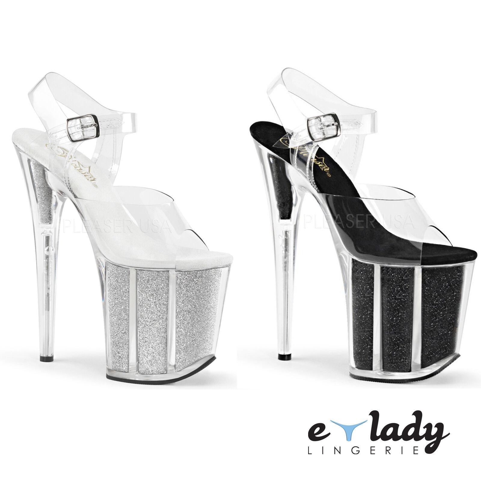 Pleaser flamingo - 808G chaussures stiletto talons hauts plateforme bride cheville paillettes neuf