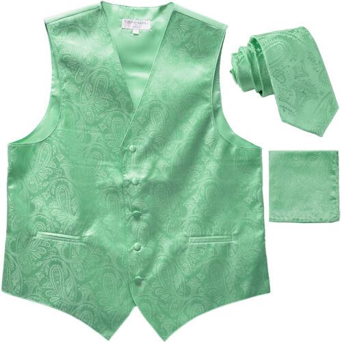 "New Men/'s Formal Vest Tuxedo Waistcoat/_2.5/"" necktie set paisley prom Aqua Green"