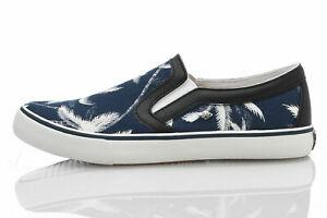Details zu British Knights JAM Schuhe Slip On BK Herren Sneaker blau weiße Palmenmotive