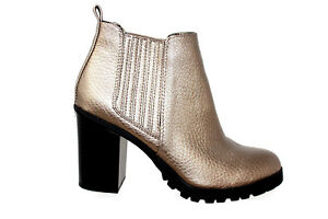 0faab007683 Details about SAM & LIBBY DEANNA METALLIC GOLD ANKLE BOOTS CHUNKY HEEL PULL  ON Size 8