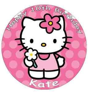 """Distingué Hello Kitty Personnalisé Cake Topper Gaufrette Comestibles Papier 7,5 """"-afficher Le Titre D'origine"""