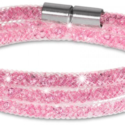 CASPAR Damen Glitzerstein Armband Wickelarmband DREIFACH Nylon-Netzschlauch NEU