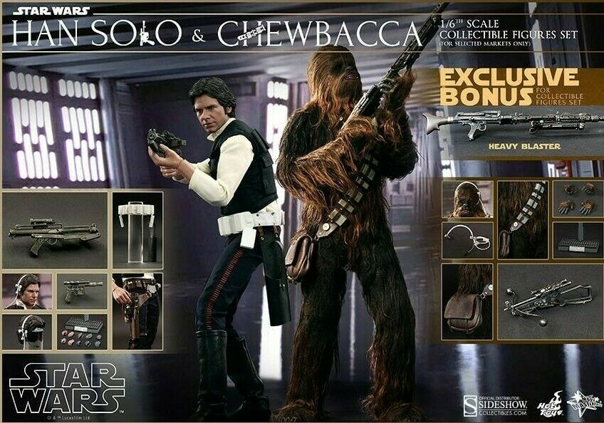 Hot Toys MMS263 Han Solo Chewbacca Set + Bonus 1 6 Star Wars Episode IV   Mint