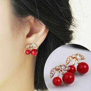 New-Womens-Luxury-Rhinestone-Red-Cherry-Party-Earrings-Stud-Jewellery-Gift-Bag