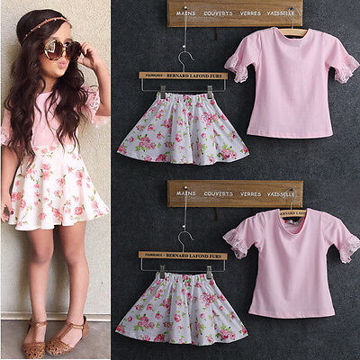 2015 Summer 2pcs Outfits Kids Baby Girls Pink Lace Tops+Floral Skirts Dress Set