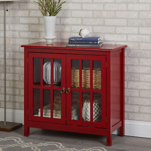 Wooden Red Glass Door China Cabinet Curio Storage Hutch ...