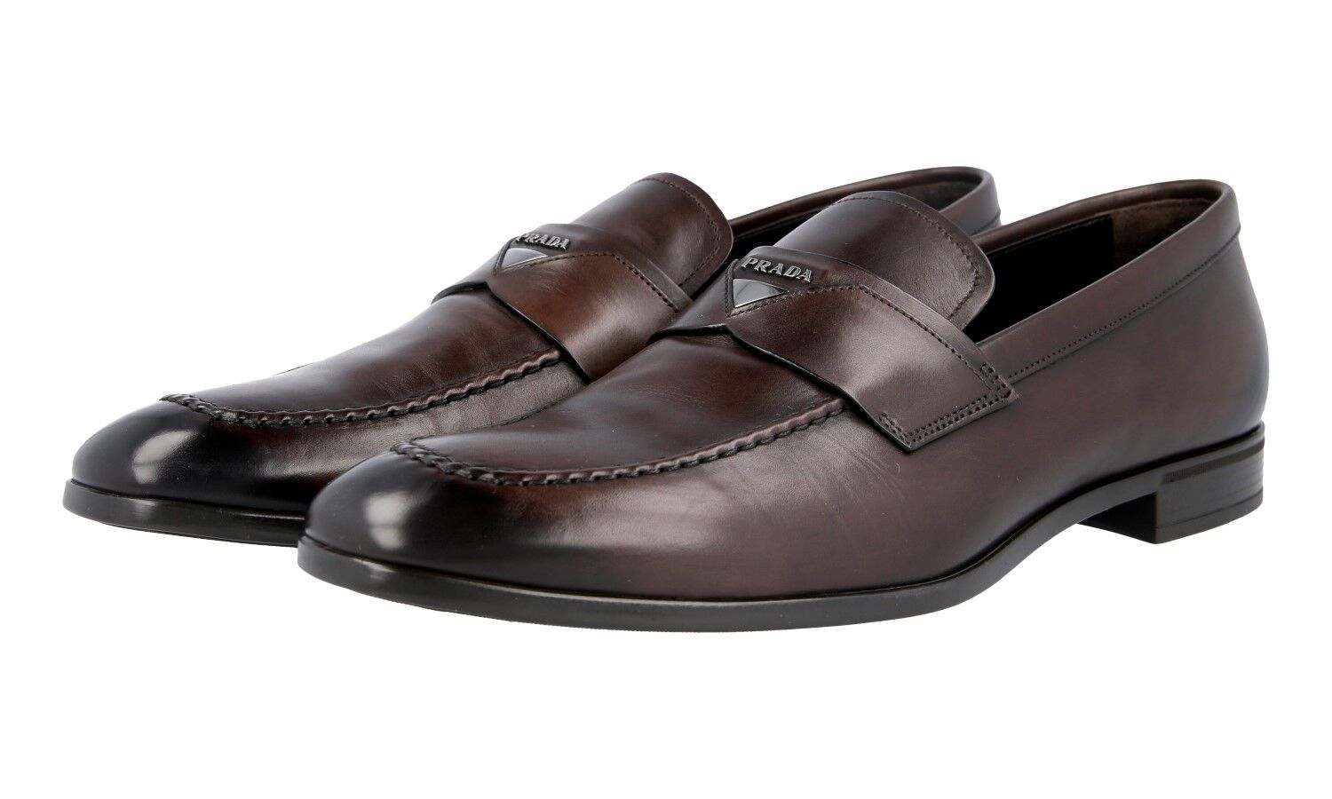 AUTH LUXURY PRADA BUSINESS SHOES LOAFER 2DC182 BROWN NEW US 11 EU 44 44,5