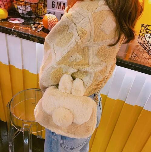 Harajuku Cute Plush Rabbit Ear Crossbody Bag Lolita Girls Chain Shoulder Bag