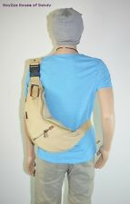 Mens Casual Canvas Small Size Sling Body Shoulder Fanny Bag Backpack(3341) Khaki
