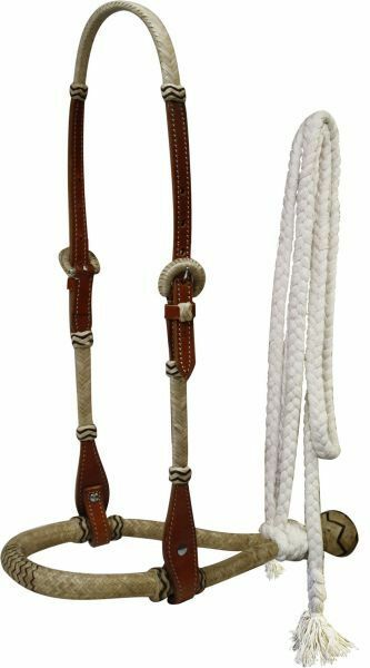 Showman Leather Rawhide Braided Show Bosal with Cotton Reins  Medium or Light
