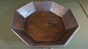 """Fine Large Size Korean Joseon Dynasty 8 Sided Wooden Food Tray 15.8"""" Asian Antiques"""