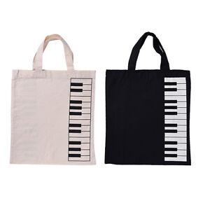 Fashion Piano Keys Sheet Music Handbag Tote Bag Black Shopping Bag