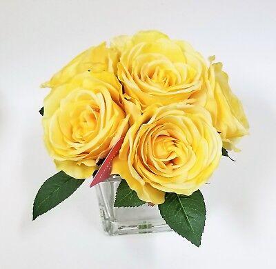 Eficiente Nuevo 6 Artificial Amarillo Seda Rosa Flowers-real A Táctil + Cristal Florero
