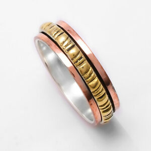 Brass statement Spinner Ring All Size JK-40 925 Sterling Silver /& Copper Band