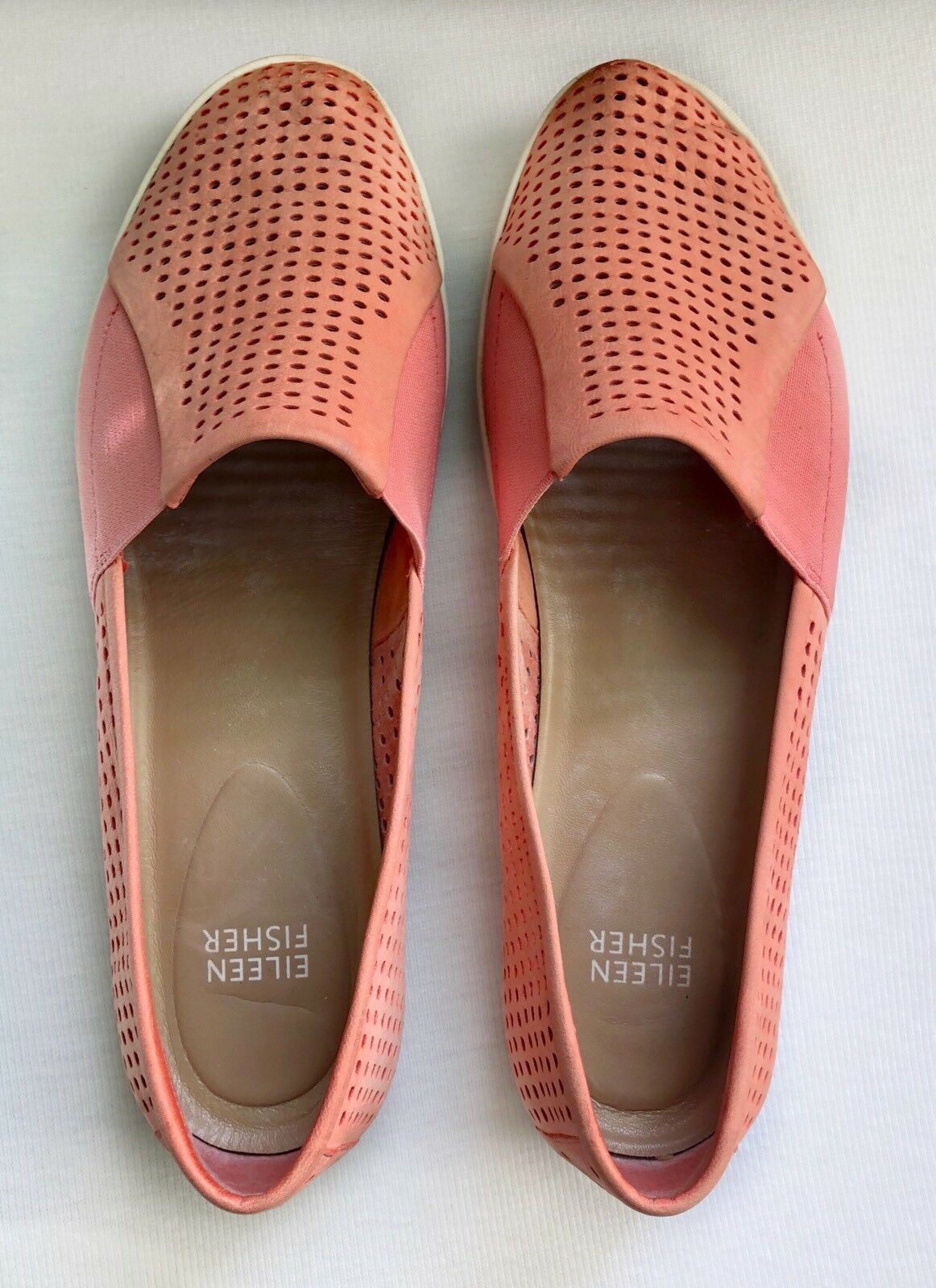 Eileen Fisher Suede Leder Perforated Slip On Sneakers Größe 9.5