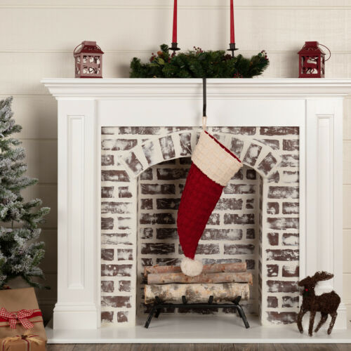 VHC Farmhouse Stocking Chenille Christmas Santa Hat Holiday Decor Red
