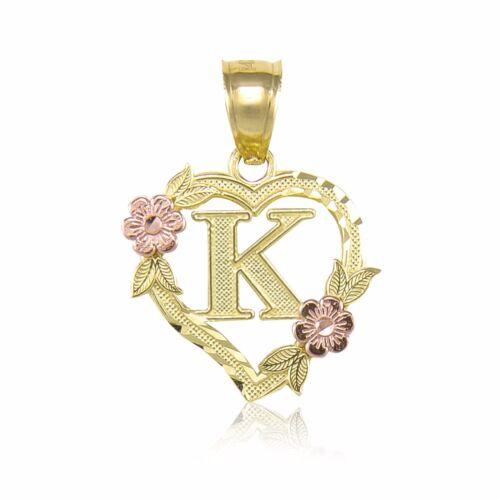 10K Or Jaune cœur initiale lettre Pendentif-A-Z Alphabet Fleur Collier Charme