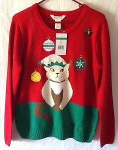Sophia Jayne Light Up Cat Kitty Ugly Christmas Sweater Ladies Large
