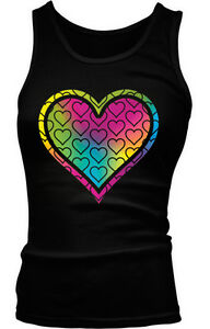 85ded7c021d29 Image is loading Love-Multicolored-Heart-Peace-Hippie-Beater-Tank-Top