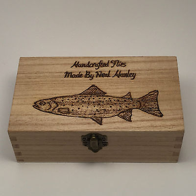 Double Fishing Fly Box  Personalised gifts perch carp salmon