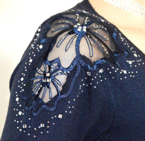 Brodé Pull À shirt Bleu Femme veste Tee Longues A19 Manches Voile Sous q06OWv1