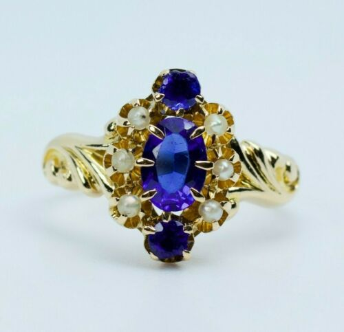 Vintage 14k Yellow Gold Oval Blue Synthetic Sapph… - image 1