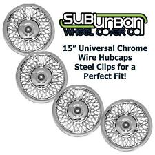 "15"" Universal Fit Chrome Wire Hubcaps / Wheel Covers # 1215 BRAND NEW SET 4"